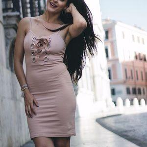 Forever XX1 blush pink bodycon dress medium